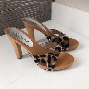 Dolce & Gabbana Leopard Print Slides - Size 7